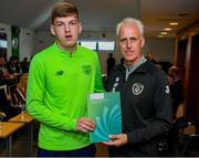 9 September 2019; Republic of Ireland manager Mick McCarthy presents Justin Doyle of the DDLETB Training Centre, Loughlinstown, with their certificate during the 2019 FAI-ETB Graduation event at the FAI Headquarters in Abbotstown, Dublin. Photo by Stephen McCarthy/Sportsfile
