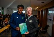 9 September 2019; Republic of Ireland manager Mick McCarthy presents Josh Ojelabi of the DDLETB Training Centre, Loughlinstown, with their certificate during the 2019 FAI-ETB Graduation event at the FAI Headquarters in Abbotstown, Dublin. Photo by Stephen McCarthy/Sportsfile