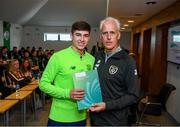 9 September 2019; Republic of Ireland manager Mick McCarthy presents Dylan Reilly of the DDLETB Training Centre, Loughlinstown, with their certificate during the 2019 FAI-ETB Graduation event at the FAI Headquarters in Abbotstown, Dublin. Photo by Stephen McCarthy/Sportsfile