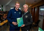 9 September 2019; Republic of Ireland manager Mick McCarthy presents Sam Rennicks of the DDLETB Training Centre, Loughlinstown, with their certificate during the 2019 FAI-ETB Graduation event at the FAI Headquarters in Abbotstown, Dublin. Photo by Stephen McCarthy/Sportsfile