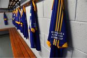 7 September 2019; A detailed view of a Tipperary jersey before The Alzheimer Society of Ireland hosting Bluebird Care sponsored Tipperary v Limerick hurling fundraiser match at Nenagh Éire Óg, Nenagh, Co Tipperary. This unique fundraising initiative, to mark World Alzheimer's Month 2019, was the brainchild of two leading Munster dementia advocates, Kevin Quaid and Kathy Ryan, who both have a dementia diagnosis. All the money raised will go towards providing community services and advocacy supports in the Munster area and beyond. Photo by Piaras Ó Mídheach/Sportsfile