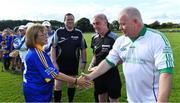 7 September 2019; Dementia advocate Kathy Ryan meets Limerick goalkeeper Joe Quaid before The Alzheimer Society of Ireland hosting Bluebird Care sponsored Tipperary v Limerick hurling fundraiser match at Nenagh Éire Óg, Nenagh, Co Tipperary. This unique fundraising initiative, to mark World Alzheimer's Month 2019, was the brainchild of two leading Munster dementia advocates, Kevin Quaid and Kathy Ryan, who both have a dementia diagnosis. All the money raised will go towards providing community services and advocacy supports in the Munster area and beyond. Photo by Piaras Ó Mídheach/Sportsfile