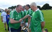 7 September 2019; Dementia advocate Kevin Quaid meets Gerry Quaid of Limerick before The Alzheimer Society of Ireland hosting Bluebird Care sponsored Tipperary v Limerick hurling fundraiser match at Nenagh Éire Óg, Nenagh, Co Tipperary. This unique fundraising initiative, to mark World Alzheimer's Month 2019, was the brainchild of two leading Munster dementia advocates, Kevin Quaid and Kathy Ryan, who both have a dementia diagnosis. All the money raised will go towards providing community services and advocacy supports in the Munster area and beyond. Photo by Piaras Ó Mídheach/Sportsfile