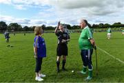 7 September 2019; Dementia advocates Kathy Ryan and Kevin Quaid with referee Seán Cleere before The Alzheimer Society of Ireland hosting Bluebird Care sponsored Tipperary v Limerick hurling fundraiser match at Nenagh Éire Óg, Nenagh, Co Tipperary. This unique fundraising initiative, to mark World Alzheimer's Month 2019, was the brainchild of two leading Munster dementia advocates, Kevin Quaid and Kathy Ryan, who both have a dementia diagnosis. All the money raised will go towards providing community services and advocacy supports in the Munster area and beyond. Photo by Piaras Ó Mídheach/Sportsfile