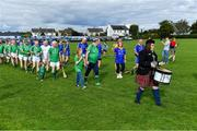 7 September 2019; Both teams march behind the CBS Pipe Band, from Limerick, before The Alzheimer Society of Ireland hosting Bluebird Care sponsored Tipperary v Limerick hurling fundraiser match at Nenagh Éire Óg, Nenagh, Co Tipperary. This unique fundraising initiative, to mark World Alzheimer's Month 2019, was the brainchild of two leading Munster dementia advocates, Kevin Quaid and Kathy Ryan, who both have a dementia diagnosis. All the money raised will go towards providing community services and advocacy supports in the Munster area and beyond. Photo by Piaras Ó Mídheach/Sportsfile