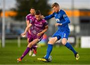 9 September 2019; Daniel Kelly of Dundalk in action against Kevin Lynch of Waterford during the Extra.ie FAI Cup Quarter-Final match between Waterford and Dundalk at the Waterford Regional Sports Centre in Waterford. Photo by Seb Daly/Sportsfile