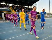 9 September 2019; Brian Gartland of Dundalk, left, and Rory Feely of Waterford lead their side's out prior to the Extra.ie FAI Cup Quarter-Final match between Waterford and Dundalk at the Waterford Regional Sports Centre in Waterford. Photo by Seb Daly/Sportsfile