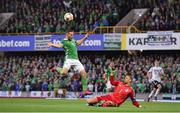 9 September 2019; Conor Washington of Northern Ireland in action against Manuel Neuer of Germany during the UEFA EURO2020 Qualifier Group C match between Northern Ireland and Germany at the National Stadium at Windsor Park in Belfast. Photo by Ramsey Cardy/Sportsfile