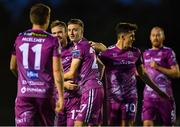 9 September 2019; Daniel Kelly of Dundalk, centre, is congratulated by team-mates after scoring his side's third goal during the Extra.ie FAI Cup Quarter-Final match between Waterford and Dundalk at the Waterford Regional Sports Centre in Waterford. Photo by Seb Daly/Sportsfile