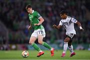 9 September 2019; Paddy McNair of Northern Ireland in action against Serge Gnabry of Germany during the UEFA EURO2020 Qualifier Group C match between Northern Ireland and Germany at the National Stadium at Windsor Park in Belfast. Photo by Ramsey Cardy/Sportsfile