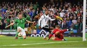 9 September 2019; Conor Washington of Northen Ireland has a shot on goal despite the attempts of goalkeeper Manuel Neuer and Jonathan Tah of Germany during the UEFA EURO2020 Qualifier Group C match between Northern Ireland and Germany at the National Stadium at Windsor Park in Belfast. Photo by Ramsey Cardy/Sportsfile