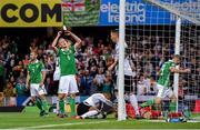 9 September 2019; George Saville of Northern Ireland reacts after a chance on goal during the UEFA EURO2020 Qualifier Group C match between Northern Ireland and Germany at the National Stadium at Windsor Park in Belfast. Photo by Ramsey Cardy/Sportsfile