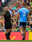 1 September 2019; Referee David Gough warns Jonny Cooper of Dublin on his number of fouls during the GAA Football All-Ireland Senior Championship Final match between Dublin and Kerry at Croke Park in Dublin. Photo by Brendan Moran/Sportsfile