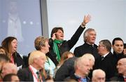 9 September 2019; DUP leader Arlene Foster and former Northern Ireland international Pat Jennings during the UEFA EURO2020 Qualifier Group C match between Northern Ireland and Germany at the National Stadium at Windsor Park in Belfast. Photo by Ramsey Cardy/Sportsfile