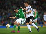 9 September 2019; Conor Washington of Northern Ireland in action against Niklas Süle of Germany during the UEFA EURO2020 Qualifier Group C match between Northern Ireland and Germany at the National Stadium at Windsor Park in Belfast. Photo by Ramsey Cardy/Sportsfile