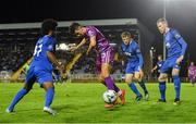 9 September 2019; Jamie McGrath of Dundalk in action against Walter Figueira, left, JJ Lunney, centre and Kevin Lynch of Waterford during the Extra.ie FAI Cup Quarter-Final match between Waterford and Dundalk at the Waterford Regional Sports Centre in Waterford. Photo by Seb Daly/Sportsfile