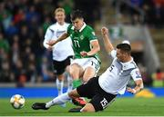 9 September 2019; Niklas Süle of Germany in action against Paddy McNair of Northern Ireland during the UEFA EURO2020 Qualifier Group C match between Northern Ireland and Germany at the National Stadium at Windsor Park in Belfast. Photo by Ramsey Cardy/Sportsfile