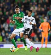 9 September 2019; Craig Cathcart of Northern Ireland in action against Serge Knabry of Germany during the UEFA EURO2020 Qualifier Group C match between Northern Ireland and Germany at the National Stadium at Windsor Park in Belfast. Photo by Ramsey Cardy/Sportsfile
