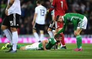 9 September 2019; Stuart Dallas, left, and Gavin Whyte of Northern Ireland react after a missed chance during the UEFA EURO2020 Qualifier Group C match between Northern Ireland and Germany at the National Stadium at Windsor Park in Belfast. Photo by Ramsey Cardy/Sportsfile