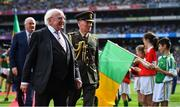 1 September 2019; President Michael D. Higgins after meeting the teams prior to the GAA Football All-Ireland Senior Championship Final match between Dublin and Kerry at Croke Park in Dublin. Photo by Brendan Moran/Sportsfile