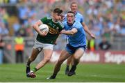 1 September 2019; Seán O'Shea of Kerry in action against Brian Fenton of Dublin during the GAA Football All-Ireland Senior Championship Final match between Dublin and Kerry at Croke Park in Dublin. Photo by Brendan Moran/Sportsfile