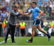 1 September 2019; Brian Howard of Dublin with manager Jim Gavin as he is substituted during the GAA Football All-Ireland Senior Championship Final match between Dublin and Kerry at Croke Park in Dublin. Photo by Brendan Moran/Sportsfile