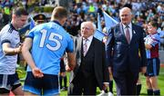1 September 2019; President Michael D. Higgins meets Ciarán Kilkenny of Dublin prior to the GAA Football All-Ireland Senior Championship Final match between Dublin and Kerry at Croke Park in Dublin. Photo by Brendan Moran/Sportsfile