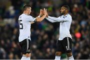 9 September 2019; Niklas Süle, left, and Jonathan Tah of Germany following the UEFA EURO2020 Qualifier Group C match between Northern Ireland and Germany at the National Stadium at Windsor Park in Belfast. Photo by Ramsey Cardy/Sportsfile