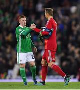 9 September 2019; Paul Smyth of Northern Ireland shakes hands with Manuel Neuer of Germany following the UEFA EURO2020 Qualifier - Group C match between Northern Ireland and Germany at the National Stadium at Windsor Park in Belfast. Photo by Ramsey Cardy/Sportsfile