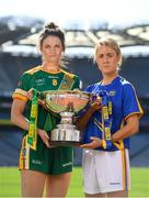 9 September 2019; In attendance at a photocall ahead of the TG4 All-Ireland Junior, Intermediate and Senior Ladies Football Championship Finals on Sunday next, are Meath captain Máire O'Shaughnessy and Tipperary captain Samantha Lambert. Photo by Ramsey Cardy/Sportsfile