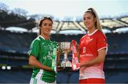 9 September 2019; In attendance at a photocall ahead of the TG4 All-Ireland Junior, Intermediate and Senior Ladies Football Championship Finals on Sunday next, are Fermanagh captain Joanne Doonan and Louth captain Kate Flood. Photo by Ramsey Cardy/Sportsfile