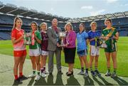 9 September 2019; In attendance at a photocall ahead of the TG4 All-Ireland Junior, Intermediate and Senior Ladies Football Championship Finals on Sunday next, are from left, Louth captain Kate Flood, Fermanagh captain Joanne Doonan, Galway captain Tracey Leonard, Rónán Ó Coisdealbha, Head of Sport, TG4, Marie Hickey, President, Ladies Gaelic Football Association, Dublin captain Sinéad Aherne, Tipperary captain Samantha Lambert and Meath captain Máire O'Shaughnessy. Photo by Ramsey Cardy/Sportsfile