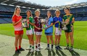 9 September 2019; In attendance at a photocall ahead of the TG4 All-Ireland Junior, Intermediate and Senior Ladies Football Championship Finals on Sunday next, are from left, Louth captain Kate Flood, Fermanagh captain Joanne Doonan, Galway captain Tracey Leonard, Dublin captain Sinéad Aherne, Tipperary captain Samantha Lambert and Meath captain Máire O'Shaughnessy. Photo by Ramsey Cardy/Sportsfile