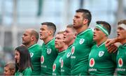 7 September 2019; Ireland players during the national anthem prior to the Guinness Summer Series match between Ireland and Wales at Aviva Stadium in Dublin. Photo by David Fitzgerald/Sportsfile