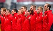 7 September 2019; Wales players during the national anthem prior to the Guinness Summer Series match between Ireland and Wales at Aviva Stadium in Dublin. Photo by David Fitzgerald/Sportsfile