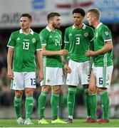 9 September 2019; Lukas Klostermann, Stuart Dallas, Jamal Lewis and George Saville of Northern Ireland during the UEFA EURO2020 Qualifier - Group C match between Northern Ireland and Germany at the National Stadium at Windsor Park in Belfast. Photo by Ramsey Cardy/Sportsfile