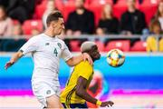 10 September 2019; Conor Masterson of Republic of Ireland in action against Benjamin Mbunga Kimpioka of Sweden during the UEFA European U21 Championship Qualifier Group 1 match between Sweden and Republic of Ireland at Guldfågeln Arena in Hansa City, Kalmar, Sweden. Photo by Suvad Mrkonjic/Sportsfile