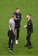 10 September 2019; Republic of Ireland players, from left, James McClean, Ronan Curtis and Jack Byrne inspect the pitch prior to the 3 International Friendly match between Republic of Ireland and Bulgaria at Aviva Stadium, Dublin. Photo by Ben McShane/Sportsfile