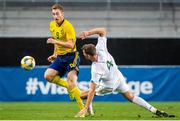 10 September 2019; Dejan Kulusekvski of Sweden in action against Conor Masterson of Republic of Ireland during the UEFA European U21 Championship Qualifier Group 1 match between Sweden and Republic of Ireland at Guldfågeln Arena in Hansa City, Kalmar, Sweden. Photo by Suvad Mrkonjic/Sportsfile