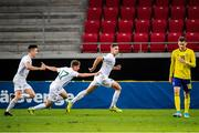 10 September 2019; Conor Masterson of Republic of Ireland, centre, celebrates with team-mates after scoring his side's second goal to take the lead during the UEFA European U21 Championship Qualifier Group 1 match between Sweden and Republic of Ireland at Guldfågeln Arena in Hansa City, Kalmar, Sweden. Photo by Suvad Mrkonjic/Sportsfile
