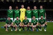 10 September 2019; The Republic of Ireland team, back row, from left, Ronan Curtis, Cyrus Christie, Mark Travers, Conor Hourihane, John Egan, and Kevin Long, and front row, from left, Alan Browne, Alan Judge, Josh Cullen, Callum O'Dowda, and Scott Hogan before the 3 International Friendly match between Republic of Ireland and Bulgaria at Aviva Stadium, Dublin. Photo by Stephen McCarthy/Sportsfile