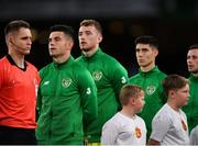 10 September 2019; Republic of Ireland players, from left, John Egan, Mark Travers and Callum O'Dowda during the national anthem prior to the 3 International Friendly match between Republic of Ireland and Bulgaria at Aviva Stadium, Dublin. Photo by Seb Daly/Sportsfile