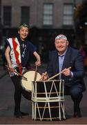 10 September 2019; RTÉ rugby analyst Bernard Jackman in attendance alongside member of the EJ Taiko Team, Hanako O'Donnell, age 12, at the RTÉ Sport Rugby World Cup 2019 Launch at Lemon & Duke, Royal Hibernian Way, Dublin. Photo by David Fitzgerald/Sportsfile