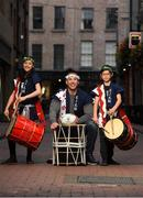 10 September 2019; RTÉ rugby analyst Stephen Ferris in attendance alongside members of the EJ Taiko Team, Sayako O'Donnell, left, age 13, and Louis Bradley, age 11, at the RTÉ Sport Rugby World Cup 2019 Launch at Lemon & Duke, Royal Hibernian Way, Dublin. Photo by David Fitzgerald/Sportsfile