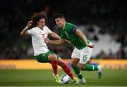 10 September 2019; John Egan of Republic of Ireland in action against Bozhidar Kraev of Bulgaria during the 3 International Friendly match between Republic of Ireland and Bulgaria at Aviva Stadium, Dublin. Photo by Stephen McCarthy/Sportsfile