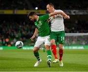 10 September 2019; Scott Hogan of Republic of Ireland in action against Anton Nedyalkov of Bulgaria during the 3 International Friendly match between Republic of Ireland and Bulgaria at Aviva Stadium, Dublin. Photo by Seb Daly/Sportsfile