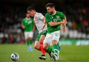 10 September 2019; Ivan Goranov of Bulgaria in action against Scott Hogan of Republic of Ireland during the 3 International Friendly match between Republic of Ireland and Bulgaria at Aviva Stadium, Dublin. Photo by Seb Daly/Sportsfile