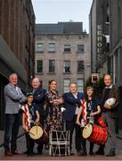 10 September 2019; RTÉ rugby analyst team and presenters, from left, Brent Pope, Bernard Jackman, Fiona Coughlan, Eddie O'Sullivan and Daire O'Brien in attendance alongside members of the EJ Taiko Team, Louis Bradley, age 11, left, and Sayako O'Donnell, age 13, at the RTÉ Sport Rugby World Cup 2019 Launch at Lemon & Duke, Royal Hibernian Way, Dublin. Photo by David Fitzgerald/Sportsfile