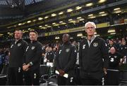 10 September 2019; Republic of Ireland manager Mick McCarthy, right, with from right to left, assistant coach Terry Connor, assistant coach Robbie Keane and goalkeeping coach Alan Kelly prior to the 3 International Friendly match between Republic of Ireland and Bulgaria at Aviva Stadium, Dublin. Photo by Stephen McCarthy/Sportsfile