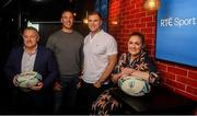 10 September 2019; RTÉ rugby analyst team and presenters, Eddie O'Sullivan, Stephen Ferris, Jamie Heaslip and Fiona Coughlan in attendance at the RTÉ Sport Rugby World Cup 2019 Launch at Lemon & Duke, Royal Hibernian Way, Dublin. Photo by David Fitzgerald/Sportsfile